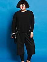 Mujer Pantalones Perneras anchas-Simple Microelástico-Algodón / Licra