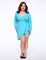 Women's Plus Size / Casual/Daily Simple Trumpet/Mermaid Dress,Solid Deep V Above Knee Long Sleeve Blue Cotton Fall Mid Rise Micro-elastic