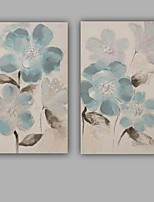 Hand-Painted Abstract / Floral/Botanical 100% Hang-Painted Oil PaintingModern / Classic Two Panels Canvas Oil Painting For Home Decoration