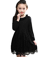 Girl's Casual/Daily Solid Dress,Chiffon Spring / Fall Long Sleeve