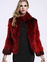 BF-Fur Style  Women's Casual/Daily Sophisticated Fur CoatSolid Turtleneck Long Sleeve Winter Blue / Red / Black Raccoon Fur