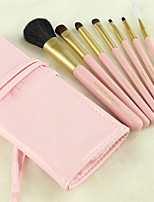 7 Makeup Brushes Set Synthetic/Horse Hair Professional / Portable Wood Handle Face/Eye/Lip Pink