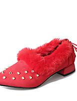 Women's Flats Fall Winter Comfort PU Casual Flat Heel Black Green Red Other