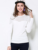 MEIDONGTAI Women's Plus Size / Casual/Daily Simple Regular PulloverSolid White Round Neck Long Sleeve Cotton / Acrylic Fall / Winter Medium Stretchy