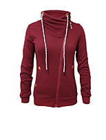 Women's Casual/Daily Simple / Active Long Hoodies,Letter Gray / Orange Hooded Long Sleeve Cotton Fall / Winter Thick Stretchy