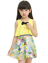 Girl's Casual/Daily Solid Dress,Cotton Blend Summer Sleeveless