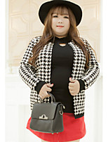Women's Casual/Daily Plus Size Simple Regular Cardigan,Houndstooth White Round Neck Long Sleeve Cotton Polyester Winter Medium Inelastic