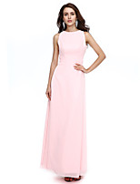 2017 Formal Evening Dress Sheath / Column Jewel Floor-length Chiffon with Sash / Ribbon