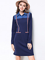 MEIDONGTAI Women's Plus Size / Casual/Daily Simple Shift DressStriped Shirt Collar Above Knee Long Sleeve Blue Cotton / Polyester / SpandexFall /