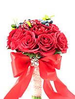 Bouquets de Noiva Redondo Rosas Buquês Casamento Festa / noite Poliéster Cetim Tafetá Renda Elastano Enfeite Flôr Seca 7.87