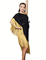 Latin Dance Dresses Women's Training Milk Fiber 2 Pieces Black / Champagne / Orange Latin Dance Sleeveless Dress
