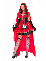 Cosplay Costumes Cinderella / Santa Suits Movie Cosplay Red Solid Dress / Shawl / Gloves Halloween / Christmas / Carnival Female Polyester