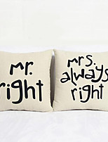Fashions Creative Home Cotton and Linen Print Letter Pillow Cushion(1 Pair)