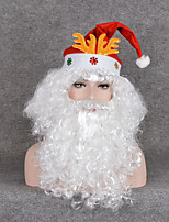 Chirstmas Gift Festival Prop Fans Curly Wigs Cosplay White Beard Christmas Santa Claus Wig & Mustache & Christmas Hat