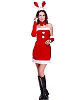 Fête / Célébration Déguisement Halloween Rouge Couleur Pleine Robe / Manche / Plus d'accessoires / Coiffure Noël Féminin Polyester