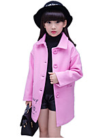 Girl Wild Print Thickness Tweed Long Woolen Coat