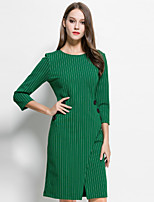 MARCOBOR Women's Going out Sophisticated Sheath DressStriped Round Neck Above Knee Long Sleeve Red / Green Others Summer Mid Rise Inelastic Medium