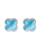 SILVERAGE Real 925 Sterling Silver Stud Earrings Fine Jewelry For Women Four Leaf Clover 2016 New Design