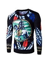 Men's Casual/Daily Simple Regular Hoodies Print  Round Neck Long Sleeve Cotton Spring / Fall Medium Sweatshirt