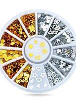 1pcs Gold Silver Metal Nail Art Sticker Wheel Hearts Teardrop Tiny DIY Nail Decorations
