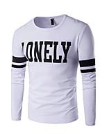 Heren Eenvoudig Herfst / Winter T-shirt,Casual/Dagelijks / Grote maten Print / Kleurenblok Ronde hals Lange mouw Blauw / Wit / Zwart