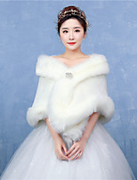 Women's Bridal Elegant Wrap Capelets Faux Fur Wedding / Party/Evening Solid White