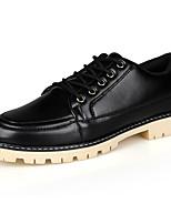 Черный / Синий / Коричневый-Мужской-Для офиса / На каждый день-Дерматин-На плоской подошве-Удобная обувь-Туфли на шнуровке