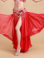Belly Dance Tutus & Skirts Women's Performance Spandex Polyester Cascading Ruffle 1 Piece Natural Skirt 93