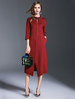 EWUS/Women's Going out / Casual/Daily Simple / Boho Shift DressSolid Round Neck Midi Half Sleeve Red / Black Cotton / Polyester Fall / Winter
