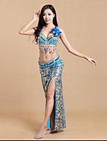 Belly Dance Outfits Women's Performance Milk Fiber / Spandex Sexy Sequins / Split 3 Piece Sleeveless Natural Dance Costumes