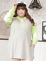 KELIXUAN  Women's Plus Size Simple Regular HoodiesColor Block / Letter Gray Hooded Long Sleeve Cotton / Polyester Fall / Winter Medium Inelastic