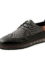 Черный / Коричневый / Серый-Мужской-Свадьба / Для офиса / Для вечеринки / ужина-КожаУдобная обувь-Туфли на шнуровке