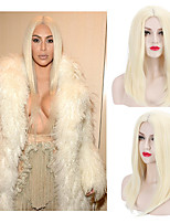 Joanne Lady Gaga New Natural Sexy 613# Blonde Straight Middle Parting Sexy Synthetic Wigs for European and American Ladies Heat Resistant