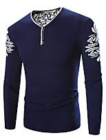 Для мужчин Большие размеры Простое Обычный Пуловер С принтом,Синий V-образный вырез Длинный рукав Полиэстер Зима Толстая Слабоэластичная
