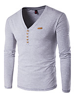Men's Casual / Plus Size / Casual/Daily Simple Fall / Winter T-shirt,Solid V Neck Long Sleeve Blue / Red / White / Black / Gray / Orange