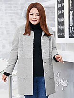MsShe Women's Plus Size / Casual/Daily / Work Vintage / Simple / Cute Trench CoatSolid Round Neck Long Sleeve Winter Gray Wool / Nylon Thick