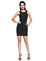 TS Couture® Cocktail Party Dress - Little Black Dress Sheath / Column Jewel Short / Mini Lace / Stretch Satin with Lace