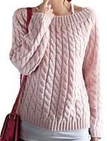 Normal Pullover Femme Décontracté / Quotidien simple,Rayé Bleu / Rose / Rouge / Beige / Marron / Jaune Col Arrondi Manches Longues Coton
