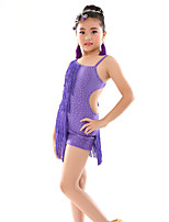 Belly Dance Leotards Children's Performance Polyester Tassel(s) Polka Dots 1 Piece Sleeveless Natural Leotard 120-140