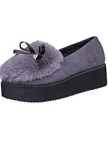 Women's Loafers & Slip-Ons Winter Platform Other Animal Skin Fur Casual Flat Heel Black Brown Gray Walking
