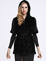 BF-Fur Style Women's Casual/Daily Sophisticated Fur CoatSolid Hooded Short Sleeve Winter Black / Brown Others