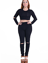 Women's Club Street chic Spring / Fall T-shirt Pant Suits,Solid Round Neck Long Sleeve Black Polyester Medium