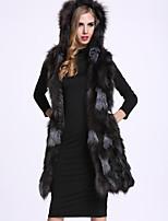 Женский На каждый день Однотонный Пальто с мехом Капюшон,Изысканный Зима Черный Без рукавов,Лисий Мех