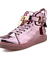 Черный Розовый Серебристый-Женский-Повседневный-Лакированная кожа-На плоской подошве-Удобная обувь-Кеды