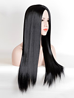 Kylie Jenner Fashion Wig Long Straight Black Centre Parting Heat Resistant Synthetic Wigs