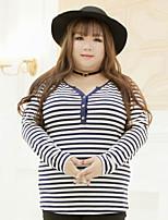 Tee-shirt Femme,Rayé Décontracté / Quotidien / Grandes Tailles simple Automne Manches Longues Col en V Blanc Coton / Polyester / Spandex