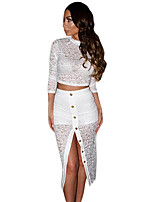 Women's Club Sexy Summer / Fall Blouse Skirt Suits,Solid Turtleneck ¾ Sleeve White / Black Polyester / Spandex Thin