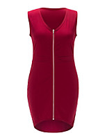 Women's Plus Size Casual Daily Sexy Dress Solid V Neck Knee-length Sleeveless Red Black