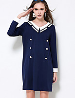 MEIDONGTAI Women's Plus Size / Casual/Daily Simple Shift DressStriped V Neck Above Knee Long Sleeve Blue Polyester / Spandex Fall Mid Rise