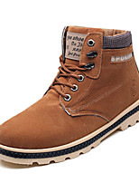 Men's Boots Winter Comfort PU Casual Low Heel Lace-up Black Blue Yellow Other